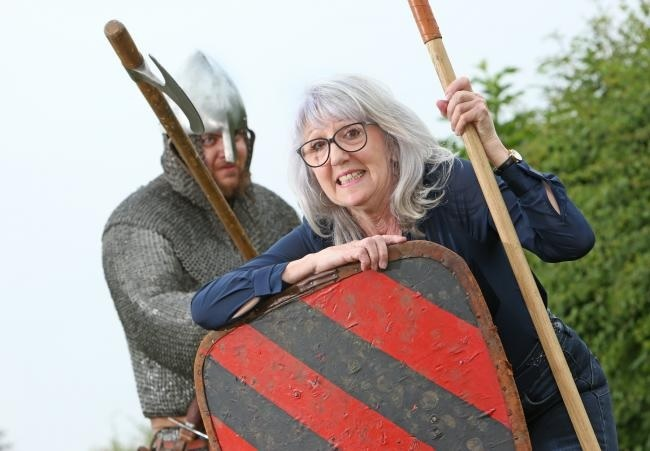 Cllr Dickinson is pictured with medieval enthusiast Will Duckworth