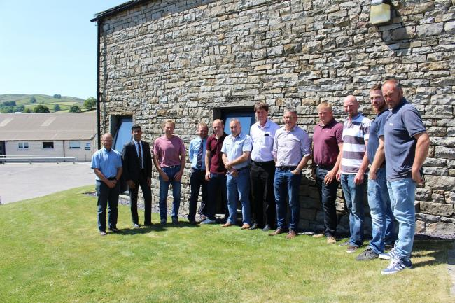 Rishi Sunak with the farmers' gathering at the Wensleydale Creamery in Hawes