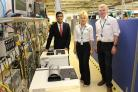 Rishi Sunak at the Analox factory with Emma Harbottle, operations director, and Mark Lewis, managing director