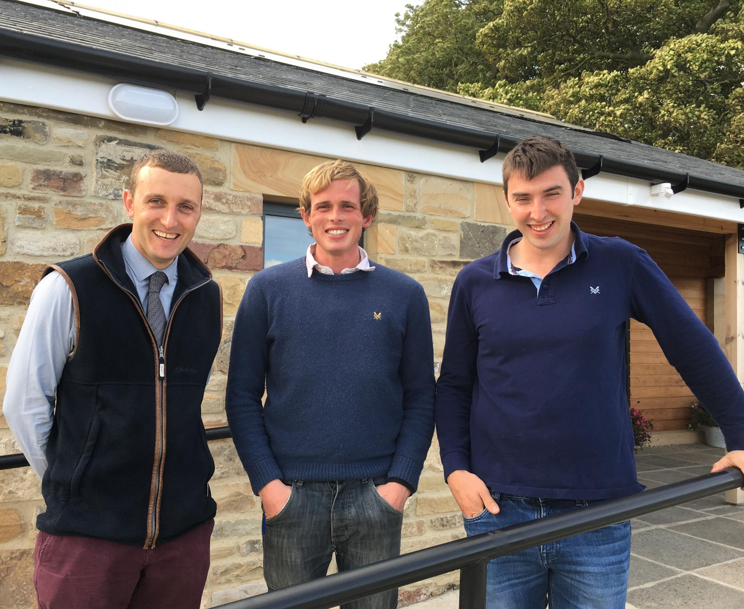 From left, Adam Barrass, Richard Darlington and Michael Moralee celebrate the opening of the new building for Butsfield YFC