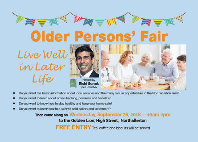 I'm looking forward in welcoming everyone to my free Older Person's Fair at the Golden Lion Hotel in Northallerton