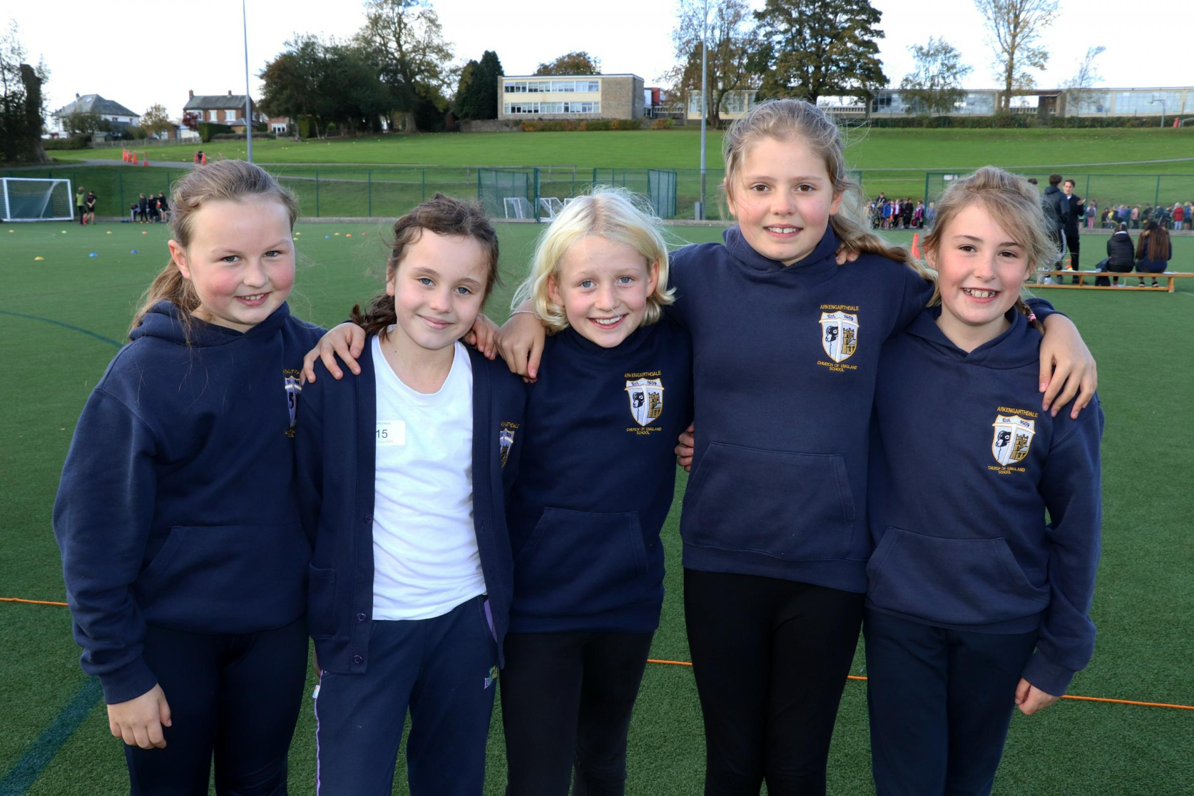 RUNNING: Five students from Arkengarthdale Church of England School, the smallest school in attendance