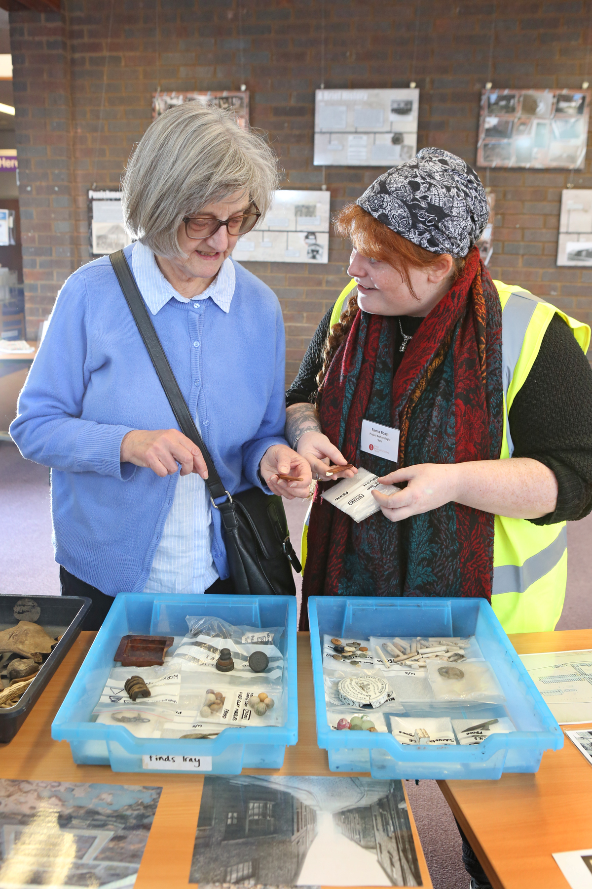 Margaret Mathews from Brompton discusses finds with Emma Boast from YAT