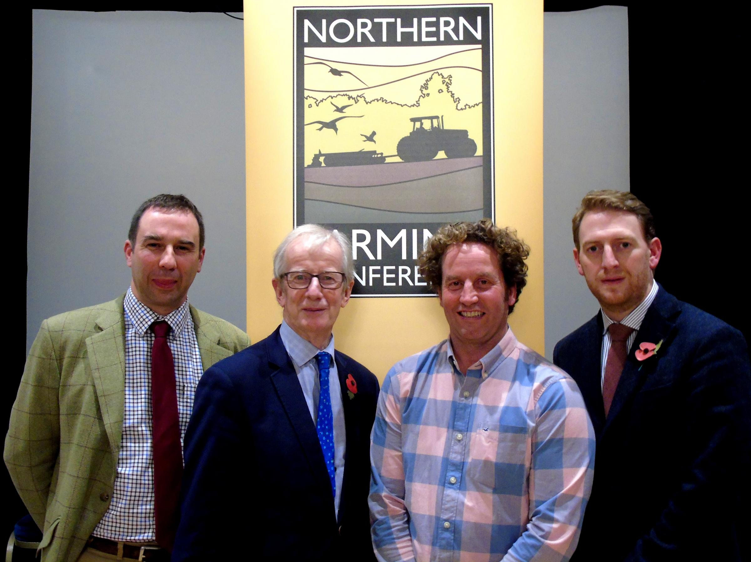 James Standen, farms director at Newcastle University; Emeritus Professor Allan Buckwell; Neil Heseltine, of Hilltop Farm, Malham; and Matthew Curry, afternoon chairman from Strutt & Parker, at the Northern Farming Conference