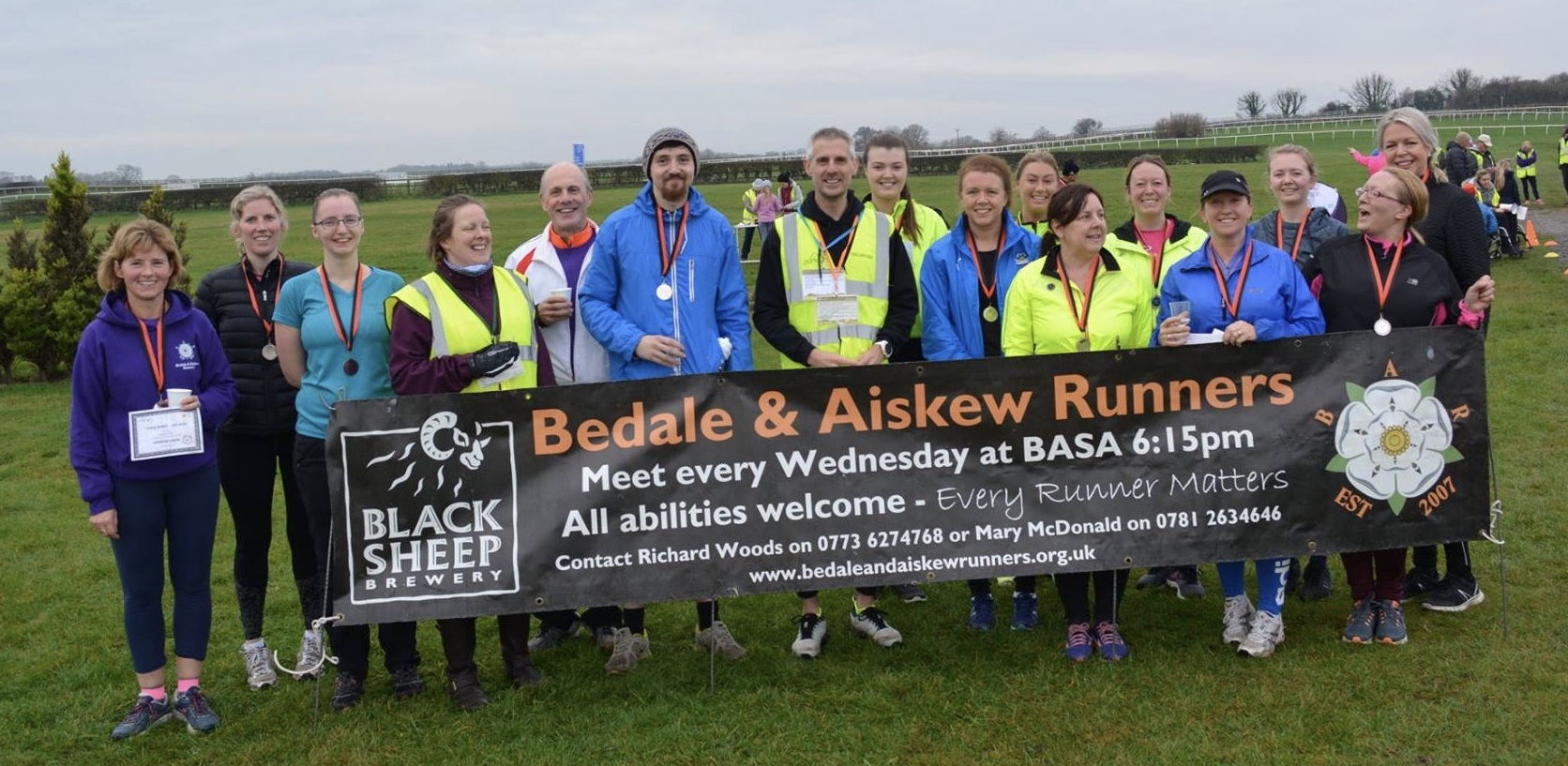 The 'Couch to 5K' runners from the Bedale and Aiskew Club having completed their first parkrun at Catterick.