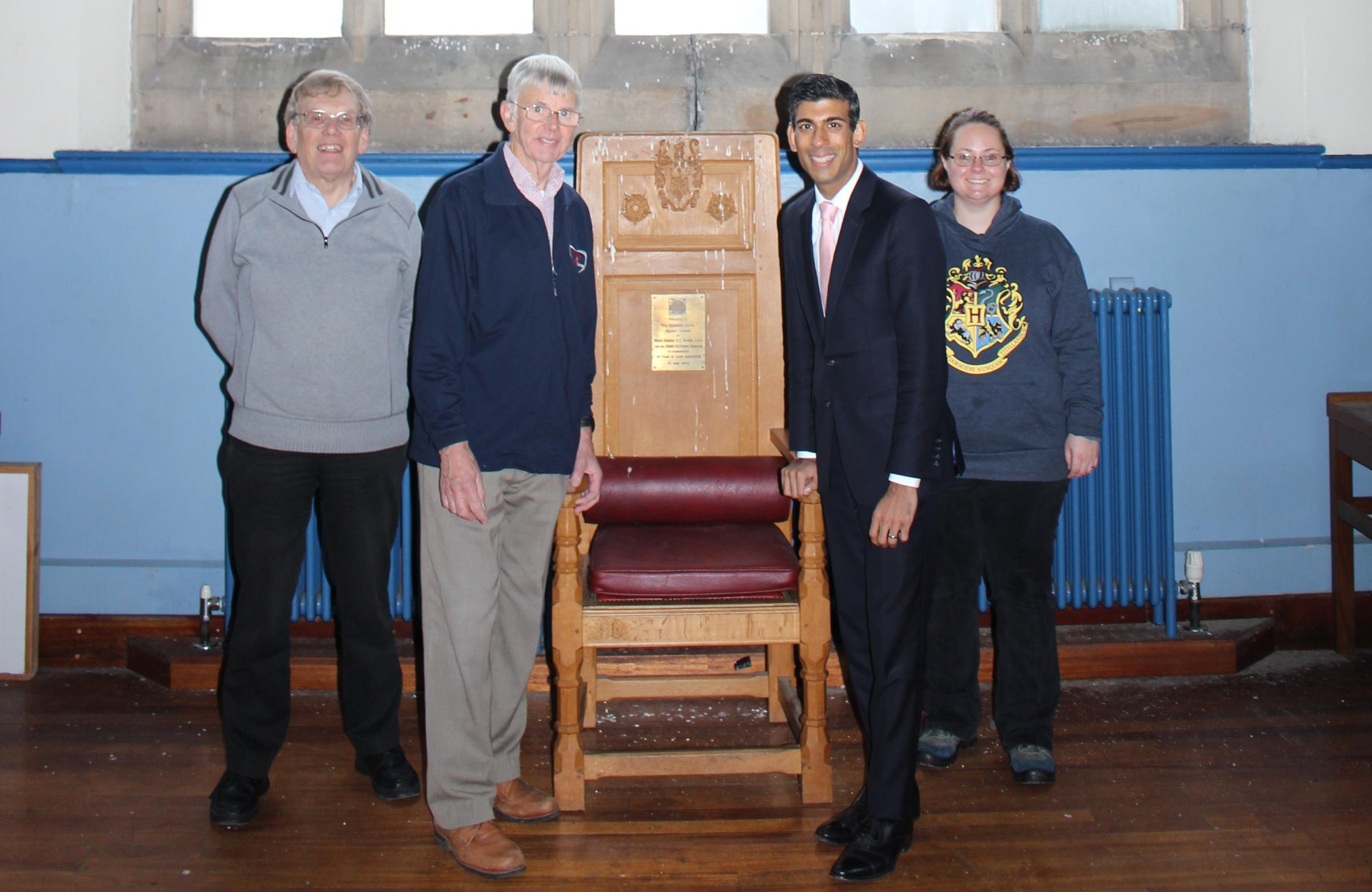 TOUR: James Gravenor, Chair of The Old Grammar School Project Committee; Ian Hepworth, Chair of the Richmondshire Building Preservation Trust; Rishi Sunak, MP; Jennifer Roberts – a volunteer with the project.