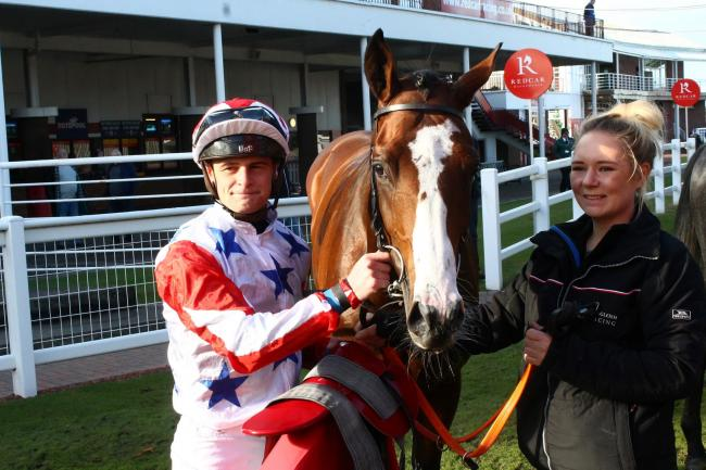 RACING BAN: Callum Rodriguez at Redcar Races last year after winning the Double Trigger Stakes on Dark Lochnagar.