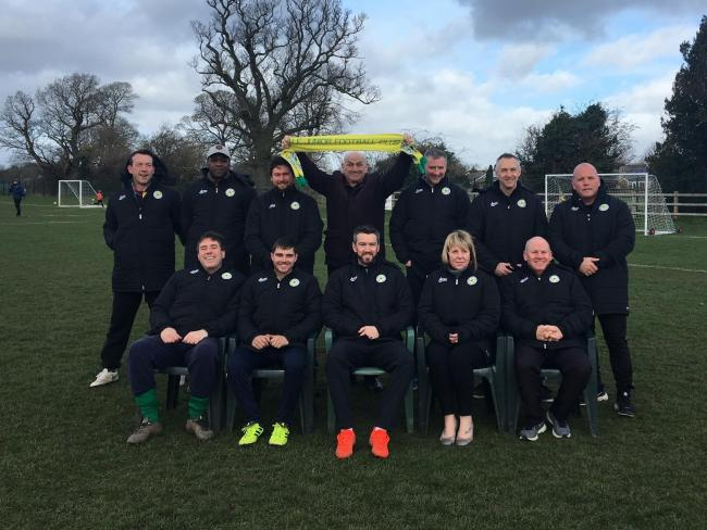 Jacket sponsor Brian Hall with BJFC coaches