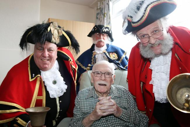 Alan Booth, centre, with from left: Helmsley town crier David Hinde, Filey town crier David Bull and Scarborough town crier David Birdsall