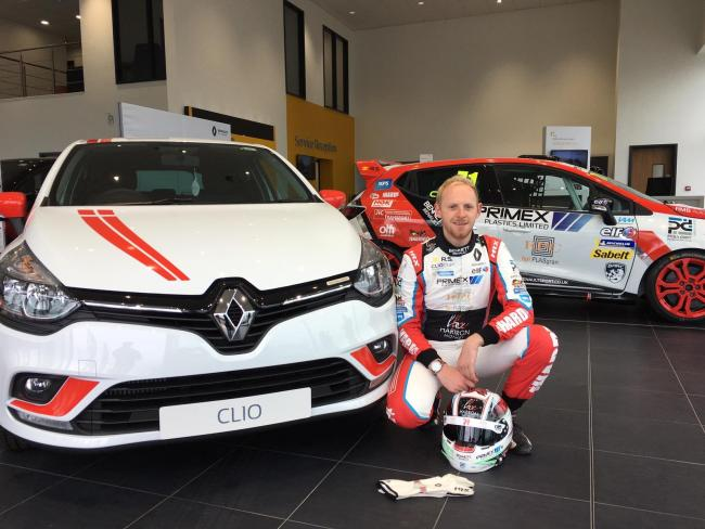 Max Coates is pictured with his custom-built Renault Clio road car at RMB Renault in Darlington. The Scorton-based driver will be competing in the Renault UK Clio Cup at Croft Circuit this weekend, when his road car will be officially unveiled